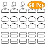 purse parts - Paxcoo 50Pcs Keychain Bulk with Key Chain Swivel Hook D Rings and Slide Buckles for Handbag Purse Hardware Craft