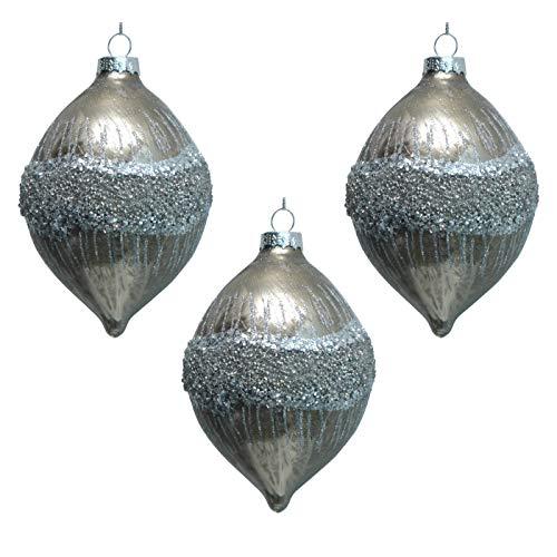Werner Voss Zapfen POMPOUS Baumkugel Strass Braun Taupe Beige 3er-Set Glas - Silber glitzernd | Baumschmuck Weihnachten Weihnachtbaumschmuck