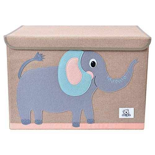 CLCROBD Foldable Kids Large Toy Chest with Flip-Top Lid, Collapsible Fabric Animal Toy Storage Organizer/Bin/Box/Basket/Trunk for Toddler, Children and Baby Nursery (Elephant)