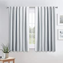 PONY DANCE White Curtains 45 inch Long - Room Darkening Light Block Drapes with Back Tabs & Rod Pocket Design Window Treatments Panels for Decoration, 52 x 45 inches, Greyish White, 2 PCs