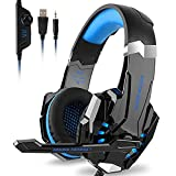 Kotion Each G9000 Gaming Headset Headphones 3.5mm Stereo Jack with Mic LED Light for Xbox One S/Xbox one/PS4/Tablet/Laptop/Cell Phone (Black Blue)