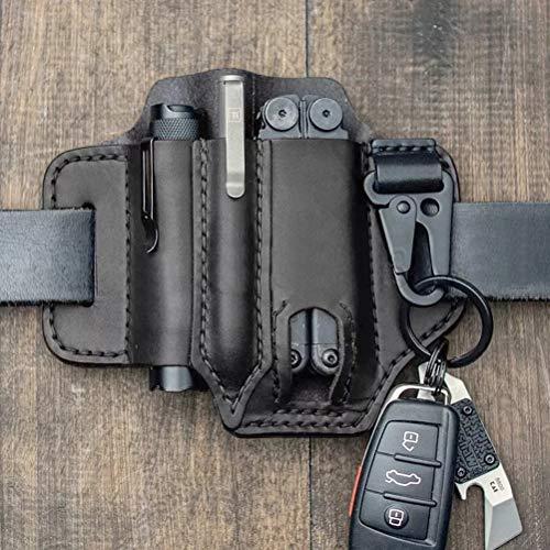 Breale Taktische Multitool Halter Leder EDC Tasche Organizer Gürtelschleife mit Schlüsselhalter für Taschenlampe Werkzeuge Oudoor Camping (17.5 * 13cm)