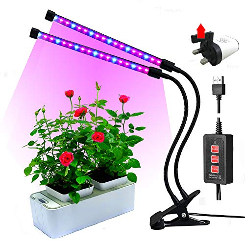 RINBO Led grow lights,18W 36LEDs Plant lights, Auto Timer(3H/6H/12H), Dimmable 5 Levels,Red/Blue Spectrum,for Every Growth Periods