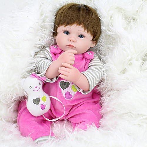 QXMEI Simulation Reborn Baby Silikon 45cm Blaue Augen Niedlichen Puppe mädchen Baby Weißem Kunststoff Kind Spielhaus Früherziehung Baby Spielzeug,45cm
