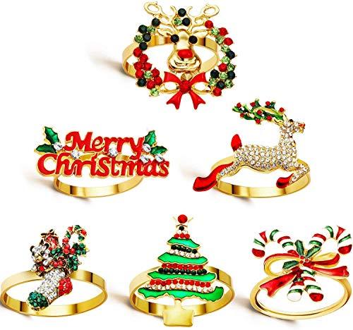 WILLBOND Weihnachten Servietten Ringe Halter für Weihnachten Abendessen Party, Hochzeit Schmuck, Tisch Dekoration Zubehör (Frohe Weihnachten Set, 6)