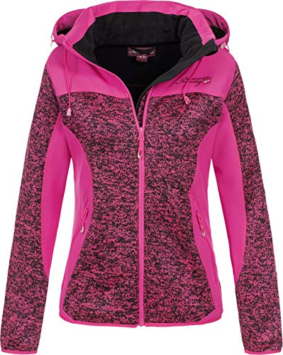 Geographical Norway Damen Fleece- Softshelljacke Theine Kapuze meliert Flashy pink XL