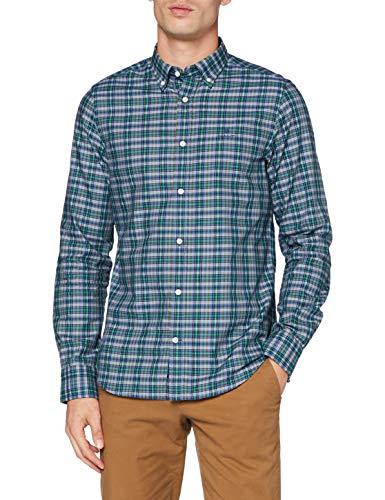 GANT D1. TP Oxford Indigo Check Slim BD Camicia, Verde Ivy, XL Uomo