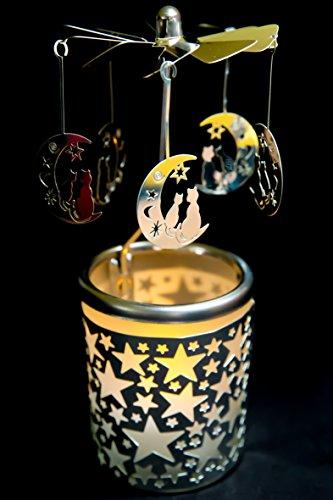hegro-grosshandel Pyramide/Rondell Silber Teelichtglas im Geschenkkarton Set inkl. Glitzerstern (Mond mit Katze)
