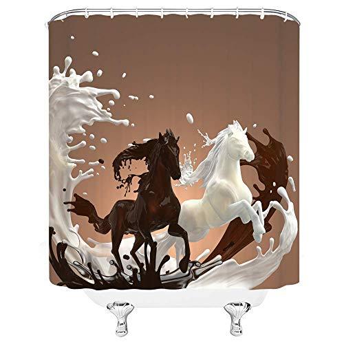 KreativePferdemilchSchokoladeBraunWeißBadezimmerDuschvorhangSetsHaken,WasserdichterPolyesterVorhangFestivalGeschenk