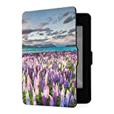 Funda Kindle Paperwhite 1 2 3, Blooming Lupin Flowers Lake Tekapo Lakeside PU Funda de Cuero con Smart Auto Wake Sleep para Amazon Kindle Paperwhite (se Adapta a Las Versiones 2012, 2013, 2015)