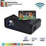 SOTEFE® WiFi Proyector Portable 6000 Lumens-Mini LED Proyector Portátil 1080P Full HD Video Multimedia para iPhone/Samsung/Sony/Hauwei Smartphone Compatible con HDMI/USB/Tarjeta SD/VGA/AV/TV Box/PS4
