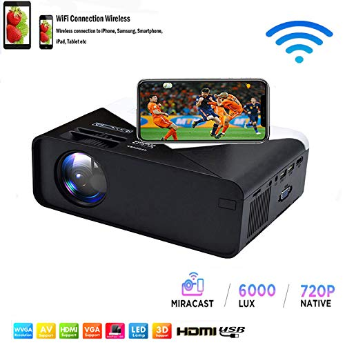 SOTEFE® WiFi Proyector Portable 6000 Lumens-Mini LED Proyector...