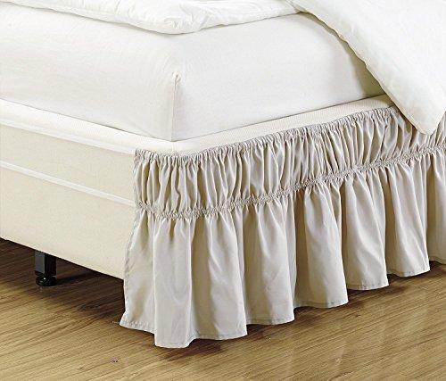 Linen Plus Elastischer Bettrock, 43 cm lang, leicht anzubringen/abzunehmen, massiv Queen-King beige