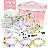 Sanlebi Enfants Bricolage Perles Set, 1000 Pièces Bracelet Perle pour Fabrication de Bracelets,Collier, Kit Fabrication Bijoux Jeux Bricolage pour Filles