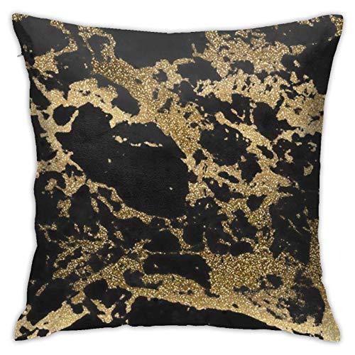 Funda de almohada decorativa moderna con purpurina dorada y mármol negro con diseño de mármol negro con cremallera, 45,7 x 45,7 cm