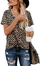 BMJL Women's Casual Cute Shirts Leopard Print Tops Basic Short Sleeve Soft Blouse (Medium, Leopard07)