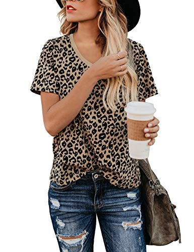 Blooming Jelly Womens Leopard Print Tops Short Sleeve Round Neck Casual T Shirts Tees (Medium, Leopard-v Neck)