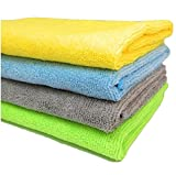 Pack of 4 ultra soft, premium quality microfiber cloth, 40 cm x 40 cm Thickness: 340 GSM, cloth material made of 80 percent polyester and 20 percent polyamide (nylon) Amazingly absorbent, demolishes dust and dirt; Easy to clean and dry, gently lifts,...