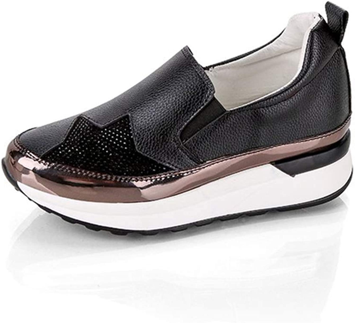 JOYBI Women Fashion Flats Loafers shoes PU Leather Slip On Comfortable Round Toe Casual Walking Sneakers