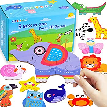 CASAON 18-Pack Toddler Puzzles for Preschool Learning Toddler Kids