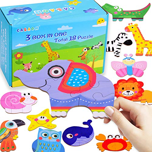 18 Pack Toddler Puzzles for 1 2 3 4 Year Old, Animal Puzzles Storage Boxs for Preschool Learning Toddler Kids