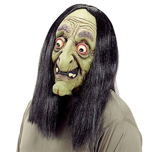 Amakando Masque Vieil magicienne Baba Yaga sorcière avec Perruque avec Cheveux Conte de fées Visage Effrayant en Caoutchouc soirée Accessoire Halloween