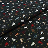 Hans-Textil-Shop Stoff Meterware Weihnachtsbäume Baumwolle