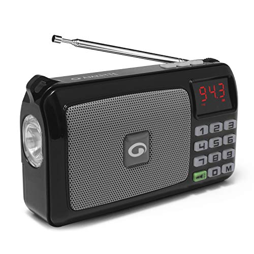 Amkette Pocket FM Portable Multimedia Speaker with USB, SD Card, Clock, and...