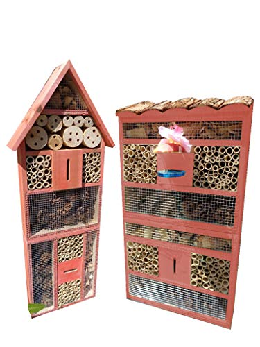 2 x XXL insektenhotels, Spitzdach groß + Flachdach hohe Form Bienenhaus mit 2X Standfuß UND TRÄNKE insektenhotel aus Holz