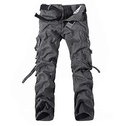 Minetom Herren Baumwoll Militärstil Lange Hose Latzhose Jogginghose Sporthose ohne Guertel ( Dunkelgrau 1 EU XS )