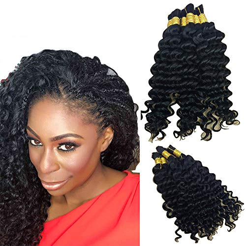 Hannah Queen Wet N Wavy Bulk hair HUMAN HAIR Micro Braiding 3 Bundle 150g Brazilian Deep Curly Wave Bulk Hair For Braiding Human Hair No Weft (22 22 22 Natural Black #1B)