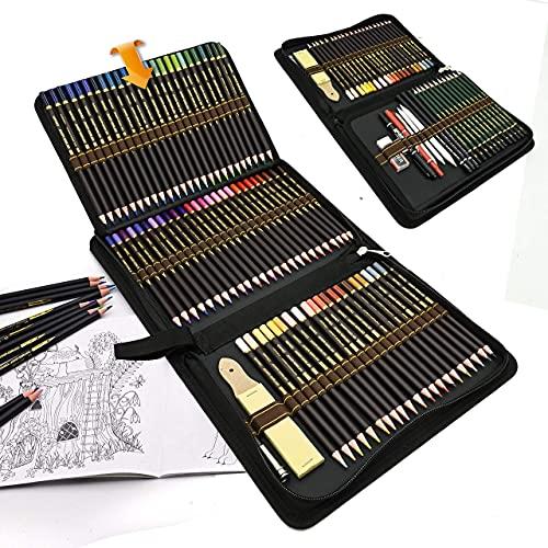 96 Matite Colorate e matite da disegno per Disegnare e Libri da Colorare, set di matite da Creativa Colori con strumento di Schizzo in astuccio portapenne grande,Ideale per Artisti, Adulti e Bambini