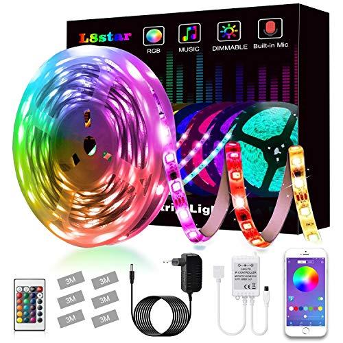 LED Strip, L8star LED Streifen Farbwechsel Led Lichterkette 5M RGB Flexible LED Bänder Strips mit Bluetooth Kontroller Sync zur Musik, Anwendung für Schlafzimmer (5M)