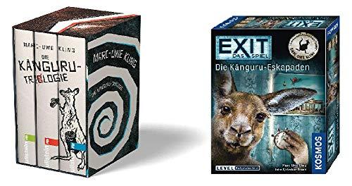 Preisvergleich Produktbild Geschenkidee Band 1-3 (Chroniken / Manifest / Offenbarung) der Känguru Reihe von Marc Uwe Kling im Schuber mit dem Spiel Exit - Die Känguru Eskapaden