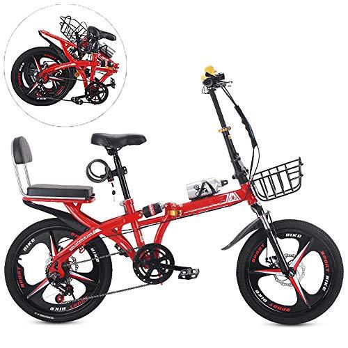 WDDMFR - Bicicleta plegable con marco de bicicleta de acero de alto contenido de carbono, doble impacto, ultraligera a velocidad variable, 6 para hombres y mujeres
