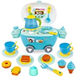 BeebeeRun Toys Tea Set , Pretend Play Kitchen with Realistic Light and Sounds,Play Food for Kids,Tea Time Toy Set Including Dessert,Cookies,Doughnut,Tea Party Accessories Toy for Toddlers,Boys Girls