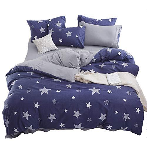ED-Lumos Funda nórdica Infantil Juego de Ropa de Cama 4 Piezas Cama 105cm Funda de edredón 180x220cm Sábana encimera 230x230cm Funda de Almohada 48x74cm Poliéster Azul Estrella