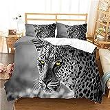 Stillshine. Bettbezug 3D Tier Leopard Druck Bettwäsche Set Kinder Jungen Mädchen Bettbezug und Kissenbezug Weiß Schwarz Mikrofaser Bettbezug mit Reißverschluss (Tier 2,200x200 cm)