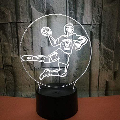 Lámpara de ilusión de luz nocturna 3D lámpara de cabecera forma de balonmano 7 cambios de color interruptor táctil lámpara de decoración de escritorio regalo de navidad de cumpleaños cable USB