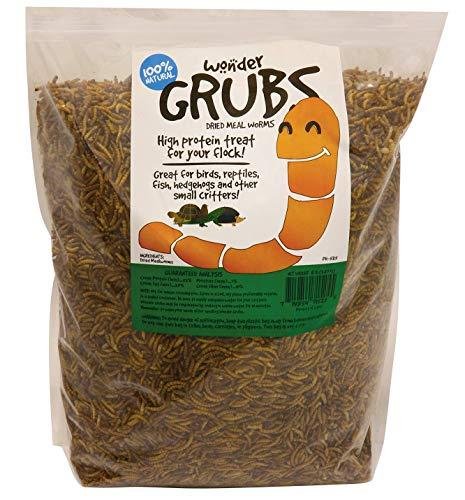Mann Lake PH525 Wonder Grubs 5 lb Non-GMO Dried High-Protein Mealworms for Wild Bird,Chicken, Ducks,Fish,Reptile, Tortoise, Amphibian,Lizard, Single, Brown