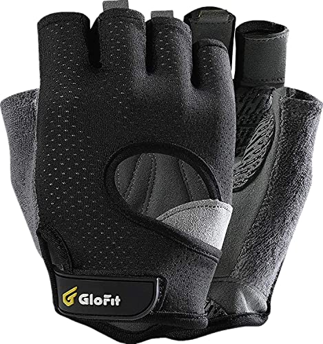 Glofit Freedom Workout Gloves, Knuckle Weight Lifting Shorty Fingerless Gloves with Curved Open Back, for Powerlifting, Gym, Women and Men (Black, Small)