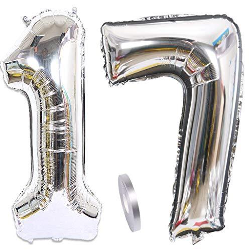 Feelairy Globos de helio con número 17, plateados, 100 cm, 2 unidades, hinchables, con número 17, para fiesta de cumpleaños de niños y niñas