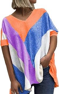 Mayntop T-shirt för kvinnor för sommar toppar färgblock tryck grafisk t-shirt lös plusstorlek kortärmad fladdermusärmar et...