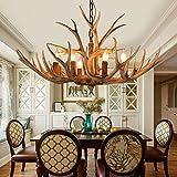 Lámpara de araña con cuernos – Vintage ciervo – Lámpara colgante con cuernos – Lámpara de techo con antecedentes – Luces antiguas para oficina, comedor, dormitorio (6 cabezales)