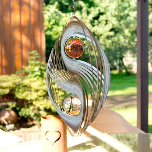 Edelstahl Windspiel – ORBIT YINYANG 300 – Ø300mm – Kugeln: 2xØ50mm – inklusiv Kugellagerwirbel, Haken und 1m Nylonschnur - 3