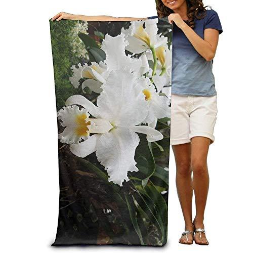 Hoedenfamilie Gepersonaliseerde Orchidee WhiteOrchid Wit Oversized Strandhanddoek Zwembad Handdoek, Zwembad Handdoeken Voor badkamer, Gymnastiek en Zwembad 31 X 51 inch
