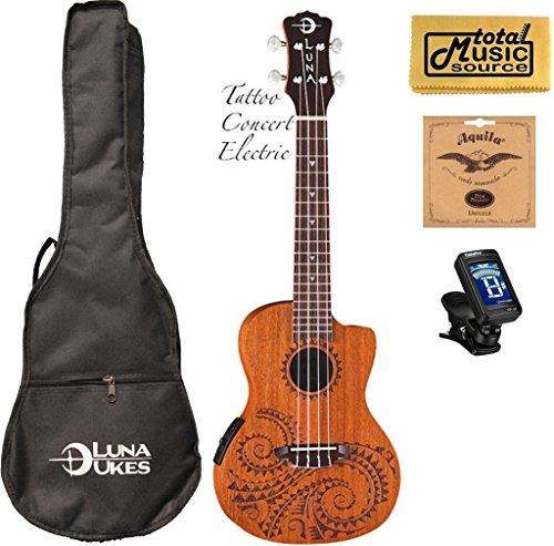 Luna Concert Tattoo Ukulele - UKE TEC MAH - Acoustic/Electric Onboard Preamp, Mahogany Body, Gig Bag, Tuner, Strings, Polishing cloth