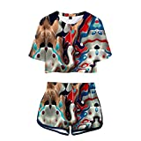 wywyet 3D Anime Abstract Art Pattern Women Summer Pyjama Set Harajuku Short Sleeve Top + Shorts Casual Girls Clothes, XS