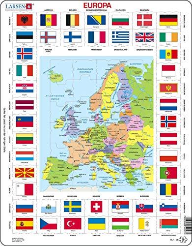 KL1 Banderas y Mapa político de Europa, edición en Alemán, Puzzle de Marco con 70 Piezas