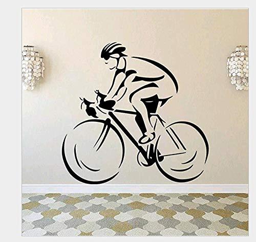 Pegatinas De Pared Hombres montando bicicleta personalidad pegatinas de pared sala de estudio sala de estar dormitorio sofá Fondo decoración de pared 57 * 55Cm